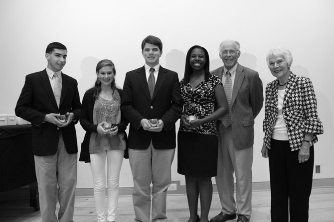 Four High School History Awards were given to Robert LaRose (Bishop Ireton High School), Joslyn Chesson (Episcopal High School), Douglas Maggs (St. Stephens St. Agnes) and Saara Kaudeyr (T.C. Williams High School). With the students are Alexandria Historical Society president Bill Dickenson and former state Sen. Patricia S. Ticer.