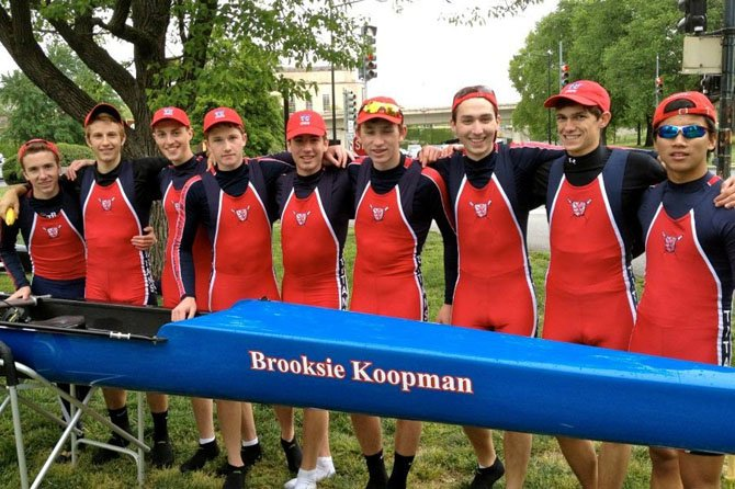 The T.C. Williams boys' lightweight 8 — a boat which has gotten faster each week that it has raced this season — came in first at the Charlie Butt Regatta in Georgetown on April 28. Members of the lightweight 8, shown here by their boat after their victory, include (from left): coxswain Brian Comey and rowers Cody Brooks, David Salmons, Chris Porter, Ethan Vannatta, Sam Zickar, Constantine Ivanis, Mitchell Youmans and Chris Kidd.