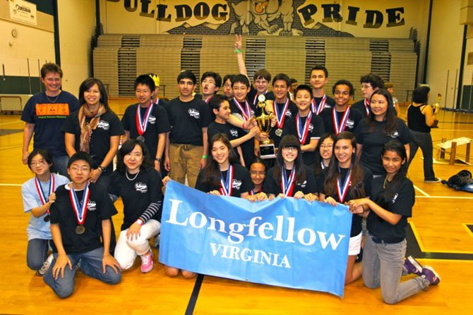 Longfellow Middle School's Science Olympiad team in the Virginia state championship tournament. The team will be representing Virginia as it competes in the national championship tournament in Orlando on May 18-19.