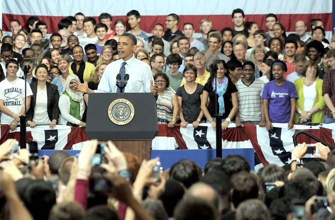 President Barack Obama addresses the student body, faculty and staff of Washington-Lee and invited guests.