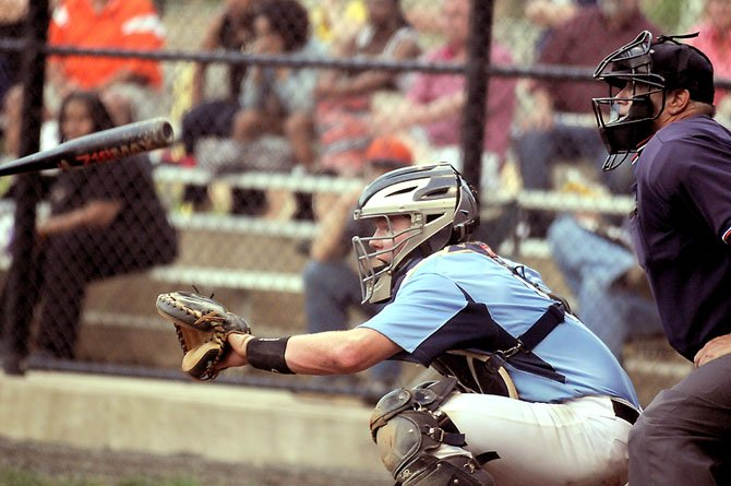 Yorktown catcher Red Dowdell drove in the game-winning run on May 4 against Hayfield with a double in the bottom of the seventh inning.