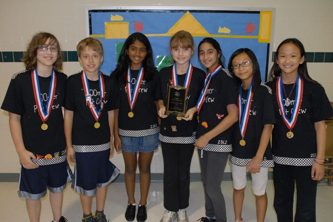 The Hunters Woods Odyssey of the Mind team is composed of fifth graders Charlotte Cai, Yukta Chidanandan, Noah Ginsburg, Wen Ip, Ryan Jones, Maya Nakhre and Charlotte Peterkin. Both teams won first place in regional and state Odyssey of the Mind competitions and are advancing to Odyssey of the Mind World Finals to be held in Ames, Iowa, May 23-26.