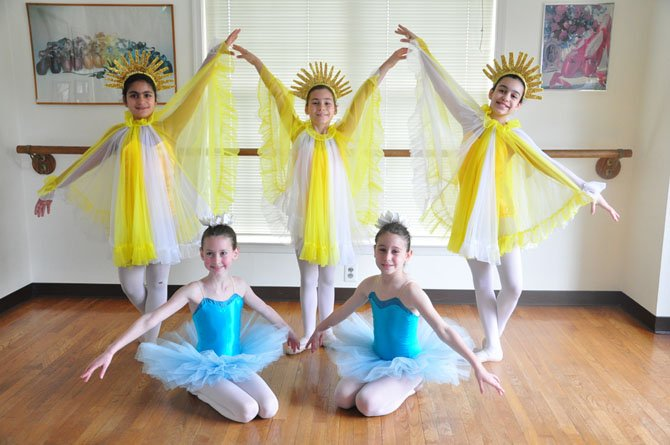 "From left, Sophie Foulad, 11; Ava Campbell, 8; Sabrina Luz, 10; Rachel Keenan, 9, and Nicole Luz, 12, will be a part of the Haddad Ballet's performance of ""The Snow Queen"" on May 12."