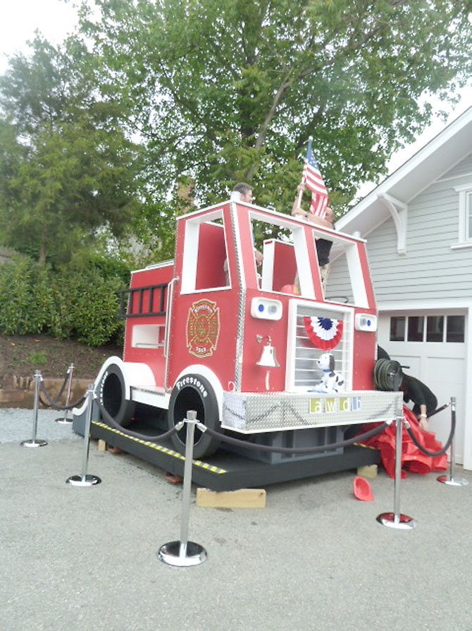 The fire truck playhouse.