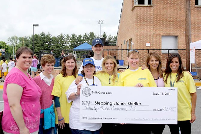 Board members from Stepping Stones Shelter accept a check for $23,000 from race co-chairs Nikki De Pandi, Roz Tavel and Debbie Friedlander.
