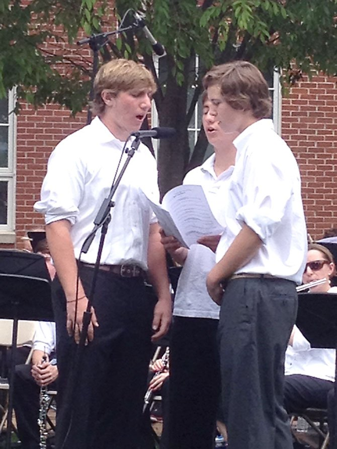 Landon students Parker Smith and Stephan Bauer perform as a part of the Landon Symphonette Concert at the Azalea Festival on May 5.