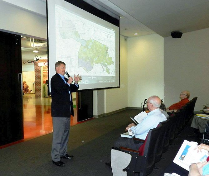 "Supervisor John Cook (R-Braddock) gave an overview of the Braddock district to participants during the first Braddock District Citizen Governance Conference at Frost Achievement Finance Park on Saturday, May 5. Hosted by the supervisor, the all-day conference was designed to make participants ""decision-makers on the course of Braddock's future."""