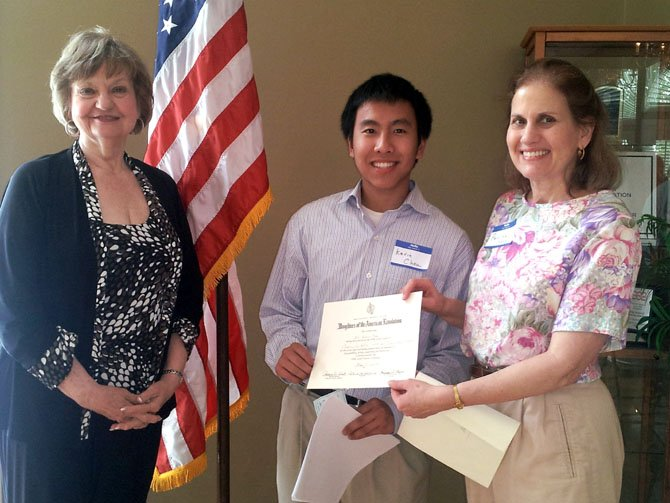 The Lane's Mill Chapter, Daughters of the American Revolution selected Centreville High School senior Kevin Chow as the recipient of the chapter's DAR Good Citizens Essay Award. Chow, who will attend Virginia Tech, was presented with the award by Chapter Regent Charlene Gross and DAR Good Citizen Chapter Chairman Pauline Herpy.