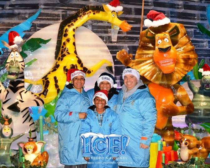 At the Gaylord Hotel at National Harbor last November 2011, touring the Madagascar Ice Exhibit, are, from left, Michaun A. Harrison, mom; Michelle O'Connor, aunt/twin sister of Michaun; David O'Connor, uncle, and front center is Edan Harrison (Centre Ridge Elementary School fifth grader), son of Michaun Harrison. The entire background is made of ice. It was freezing cold inside but beautiful.