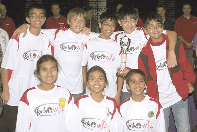 Members of Team Robowiz (back row, from left) are Adithya Varadan, Daniel Mitchell, Neeraj Prasad, Jami Park and Shomik Ghose, and (front row, from left) Abha Agrawal, Nitya Agrawal and Akshay Balaji.
