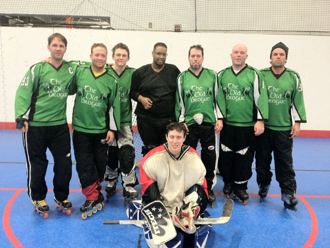 Members of the Old Brogue Hockey winter 2012 championship team, consisting of several Langley High School alumni.