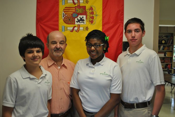 Students from Green Hedges School who were recognized for excellent performance on the 2012 National Spanish examinations. From left: Dara Shahriari, Dr. Marzolino, Camyrn Easley and Michael Williamson.