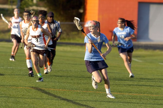 Sophomore midfielder Emily Spack scored two goals for the Yorktown girls' lacrosse team during the Patriots' victory against Hayfield in the National District tournament final on May 10.
