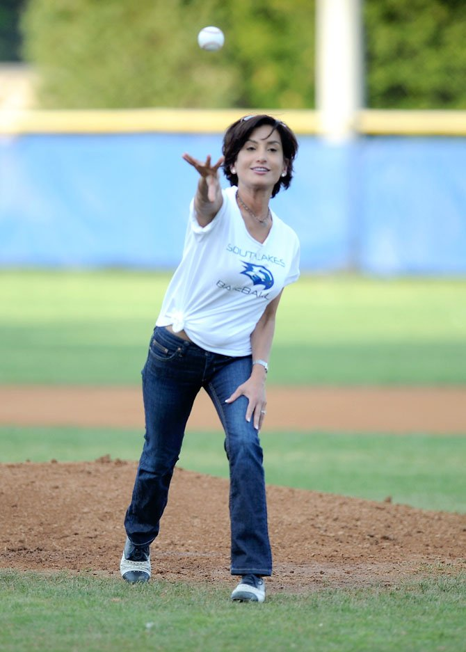 Prior to South Lakes' baseball game versus visiting Madison on Tuesday, May 1, Dr. Alli Guleria of Guleria Orthodontics, a grand slam sponsor of the Seahawks' baseball program, threw out the first pitch. (It was a called strike).