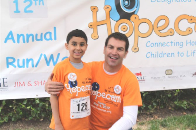 One of the runners was Hopecam's honored guest, Stefano Rocca, 8, (pictured with Hopecam Founder, Len Forkus). Stefano is a 2nd grader at Westbriar Elementary School in Vienna who has been battling leukemia since being diagnosed in February 2011. During his 10 months of initial treatment, Stefano was not able to attend school, have play dates, go to a movie, restaurant, birthday parties because of his reduced immune system.