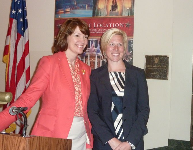 ACVA President Stephanie Pace Brown and Research for Virginia Tourism Vice President Elizabeth McLaughlin pose for photos following McLaughlin's keynote address at the Marketing and Tourism Summit May 10 at the George Washington Masonic Memorial.