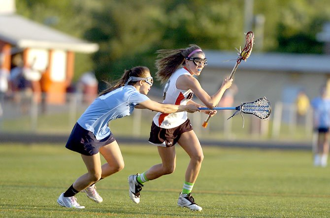 Hayfield sophomore Brenna Thomas scored two goals during the Hawks' National District girls' lacrosse tournament championship loss to Yorktown on May 10.