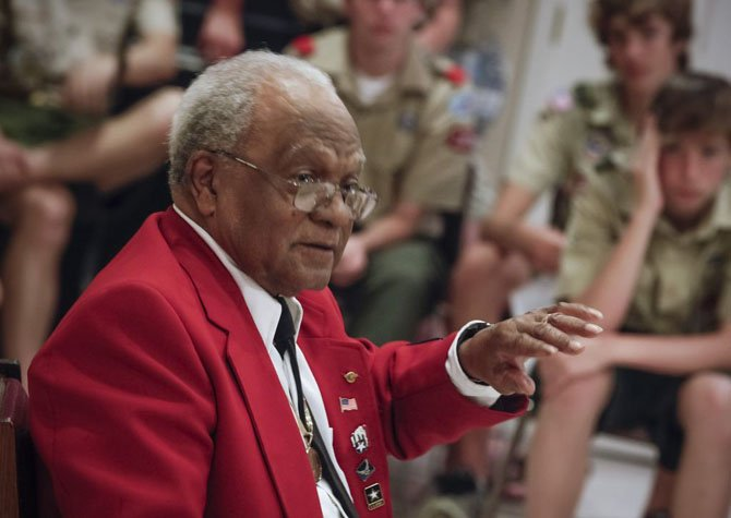 Tuskegee Airman William T. Fauntroy, Jr., age 86, gave a talk recently to Boy Scout Troop 1509 at St. Aidan's Episcopal Church in Fort Hunt. After World War II, Fauntroy went on to become the first African American civil engineer hired by the National Capital Transportation Agency — the predecessor to the Washington Metropolitan Area Transportation Authority.