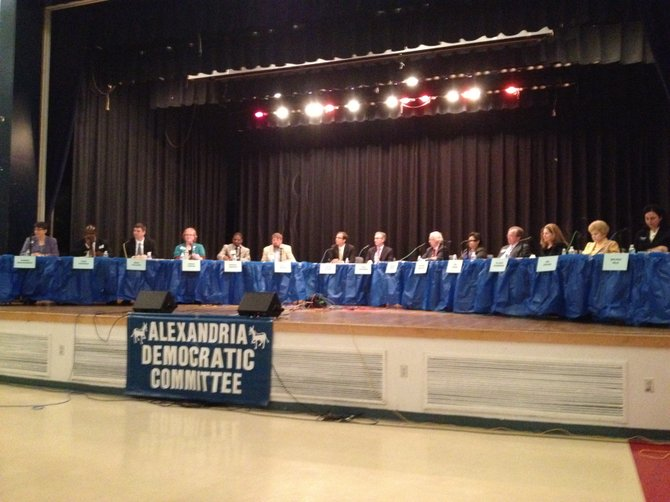 All 14 candidates participate in a forum last week hosted by the Alexandria Democratic Committee.