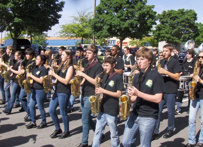 The saxophone section of Westfield High's marching band.