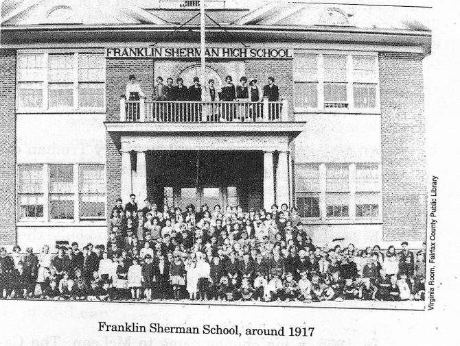 Students of Franklin Sherman High School pose in front of the building in 1917.