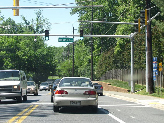 Residents concerned for pedestrian safety at the intersection of Falls Road and Oaklyn Drive prompted a study of the intersection in March 2011.
