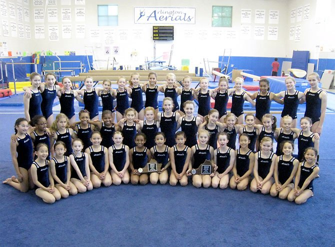 Level 4 and 5 competitors on the Arlington Aerials gymnastics team are seen with their team plaques earned at the state competition.