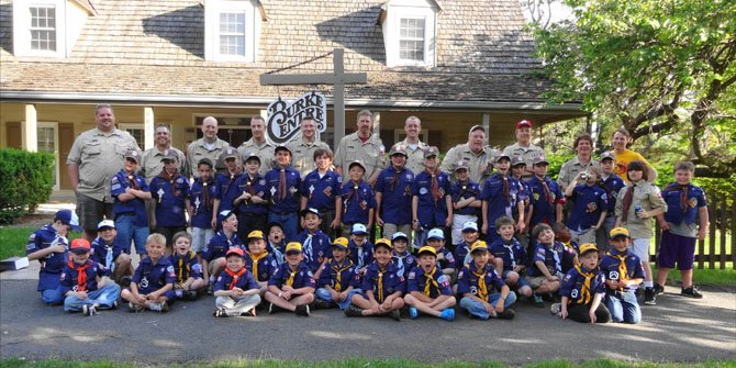 The scouts and leaders of Cub Scout Pack 1345 gather for their annual advancement ceremony on May 20.