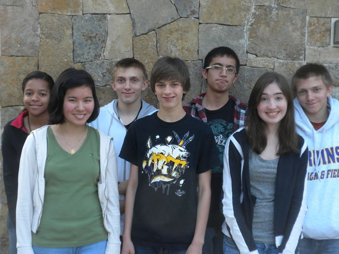 Team members of the Lake Braddock Secondary School Odyssey of the Mind team are, from left: CheyAnne Rivera, Crystal Luong, Rusty Ford, Noah Woodruff, Nick Wilcher, Nan Denette and Ryan Ford. 