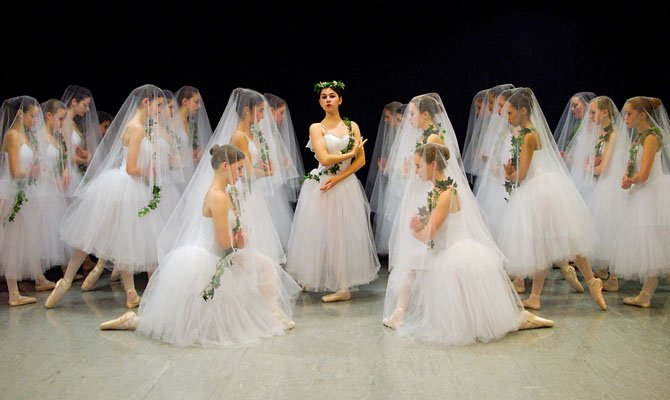 "Marnie Kremer (in center), of Oakton, plays the role Queen of the Wilis Myrthe in ""Giselle."""