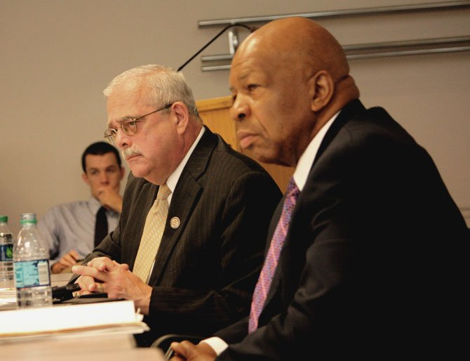 Congressman Gerry Connolly and Congressman Elijah Cummings at the congressional forum at the Fairfax Government Center earlier this month.