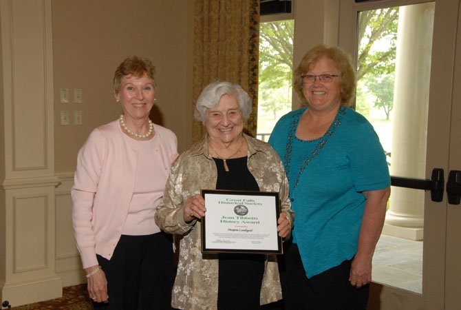 Marjorie Lundegard, center, the recipient of the Great Falls Historical Society's 2012 Jean Tibbetts Award, pictured with Kathy Heberg, Chair of the Jean Tibbetts History Award Selection Committee (left), and Kathleen Murphy, GFHS President (right).