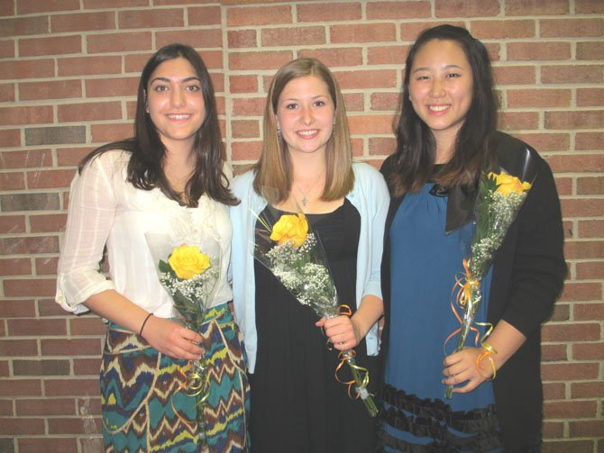 Vienna Women's Club scholarship recipients for 2012 are Alia Bayatti, Courtney Vereide and Helen Li.