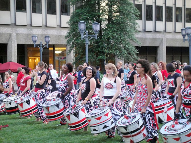 The Batala Washington all female drummer group opened for this year's Artomatic. The 40-woman drummer group wowed the audience with high-energy rhythms grounded in Brazilian and reggae beats.