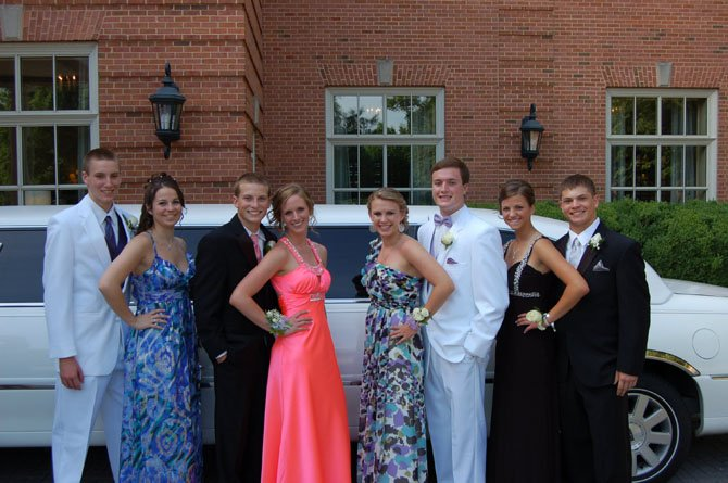 In front of The Westfield Marriott, and their limousine to and from dinner at National Harbor are, from left, Ryan Boyle, Bailey Shaffer, Billy Germain, Layne Zimmerman, Kara Tribbie, Adam LaBrecque, Katie Athearn and Jake Dansey.