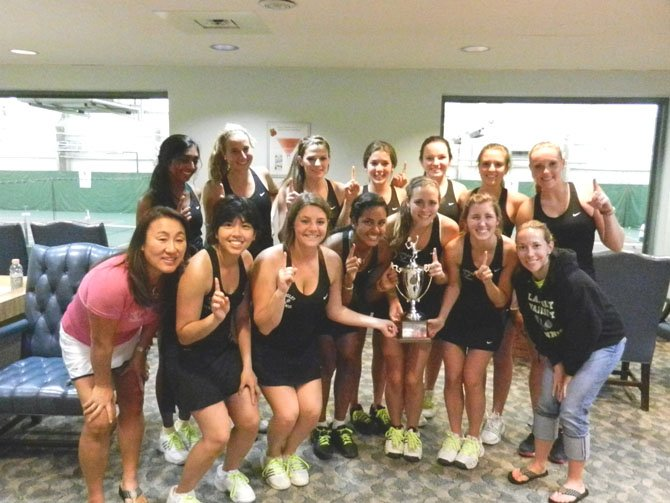 The Northern Region champion Langley girls' tennis team, shown here celebrating their title win over Jefferson, was set to host a state tournament quarterfinals round match on Tuesday, May 29.