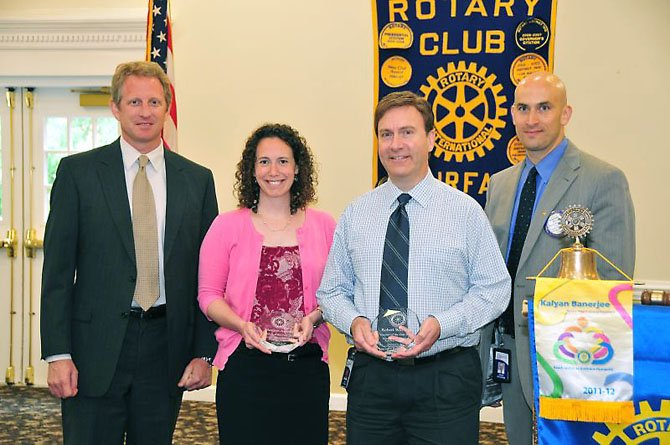 From left: Scott Pool (Principal of Lanier Middle School); Margaret Arnold (Lanier Middle School); Robert Williams (Fairfax High School); and David Goldfarb (The Fairfax Rotary Club).