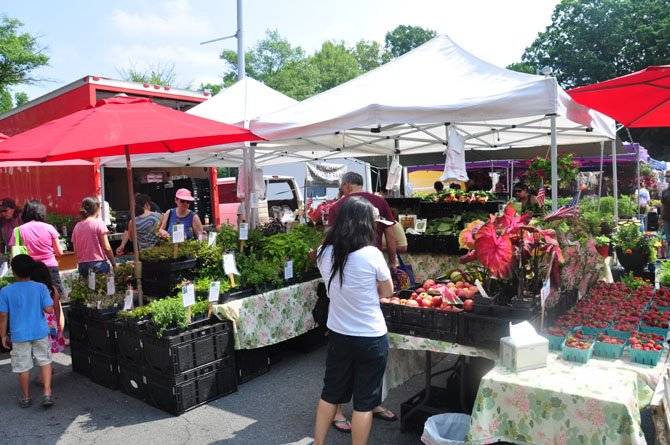 Guests at the Reston Farmers Market browse fresh fruits and vegetables at the Chelsey Vegetable Farms stand Saturday, May 26. 
