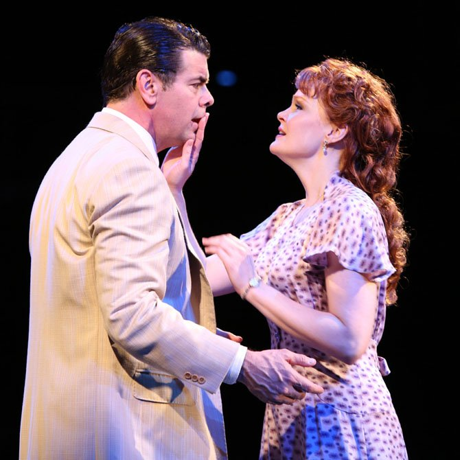 (L to R) Burke Moses as Harold Hill and Kate Baldwin as Marian Paroo in Arena Stage at the Mead Center for American Theater's production of The Music Man May 11-July 22, 2012. Photo by Joan Marcus.