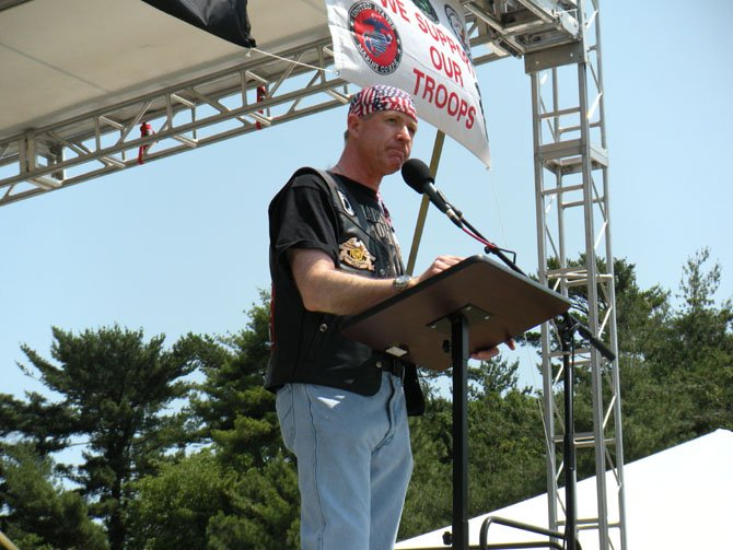 Alexandria's Kirk Lippold pauses during his address on the National Mall during the Rolling Thunder Ride for Freedom rally May 27.