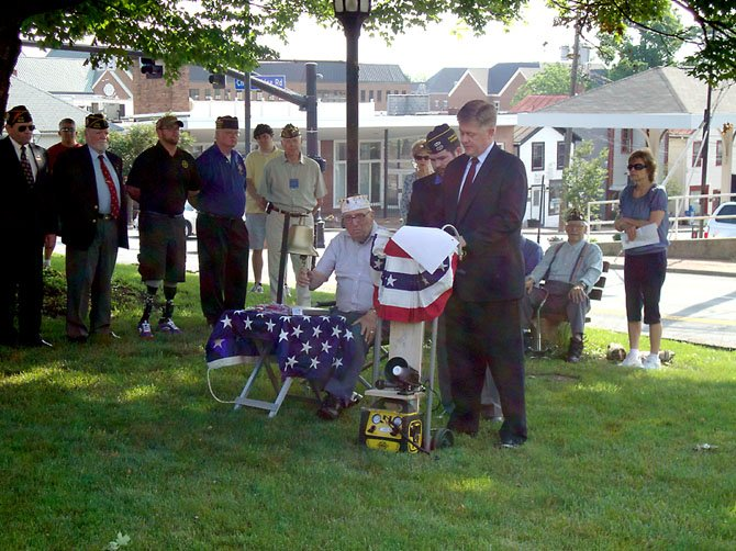 Supervisor John Cook (R-Braddock) speaks at the Memorial Day ceremony.