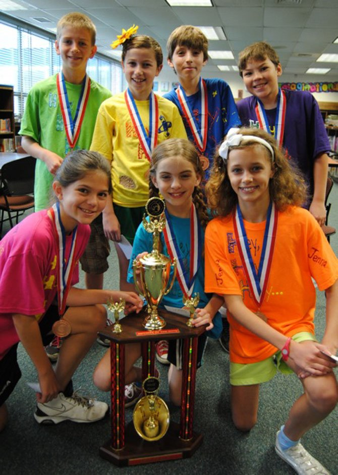 "A team of 7 fifth-graders from Stratford Landing Elementary School recently competed at the Odyssey of the World Finals at Iowa State University. The team came in first place for its solution to the NASA-sponsored ""Weird Science"" problem and came in third place overall. The team, coached by Terri Bell, includes team members Mary Bell, Lukas Brokamp, Nick Greve, Lindsay Johnson, Jenna Mulvihill, Lily Penn and Rhys Shallbetter. More 800 teams from 15 countries participated in this international competition. The team would like to thank the Stratford Landing school community for its support and the many people whose donations made this possible. Special thanks go to the sponsors who donated $500 or more: the Mount Vernon Kiwanis Club, WOW Cafe and Wingery and the Stratford Landing PTA."
