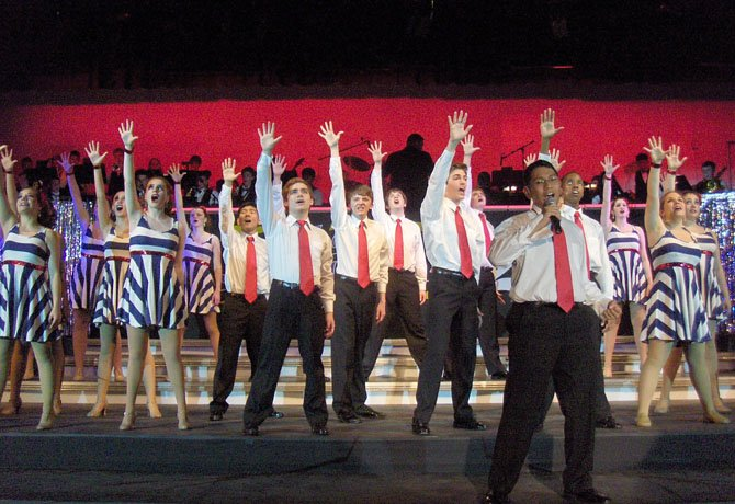 """The patriotic song, """"Because of the Brave,"""" was one of many dazzling numbers during Chantilly High's Jazz & Pizzazz show, last week."""