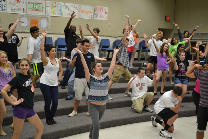 "Centreville High's Concert Choir rehearses for the school's upcoming ""Broadway Pops"" choral concert."