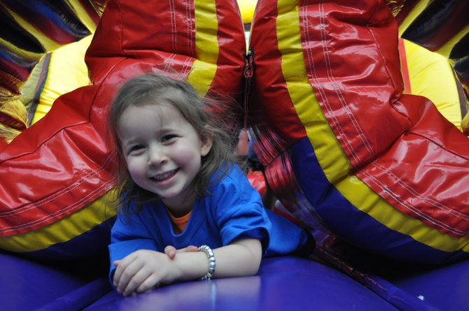 Ariana Torres on the obstacle course moon bounce.