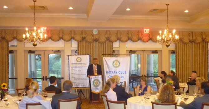 Germany's Ambassador to the United States, Peter Ammon, speaks to the Great Falls Rotary Club, part of their inaugural Ambassador Dinner series.