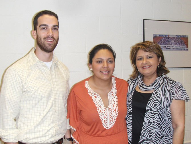 Lucia Maldonado (center) with LASA co-sponsors Enrique Fernandez and Ruth Azimi.