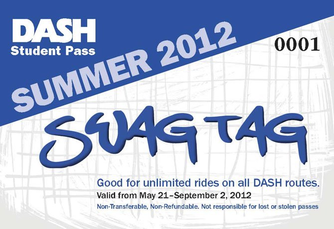 The Swag Tag allows students unlimited DASH rides from May 21 through Sept. 2.