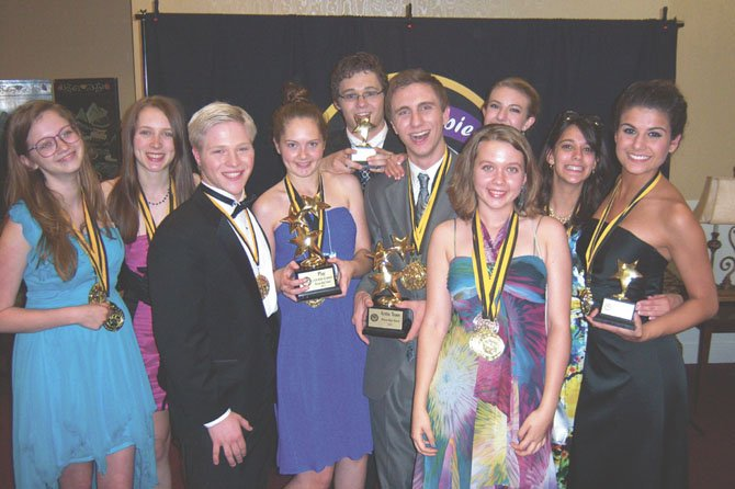 "Best Play, ""A View from the Bridge,"" McLean High School, Polina Tamarina, Madelyn Paquette, Nick Stone, Emily Mills, Damian Leverett, Max Johnson, Siena Richardson, Emma Paquette, Terry Mittelman, Lexie Shoaibi."