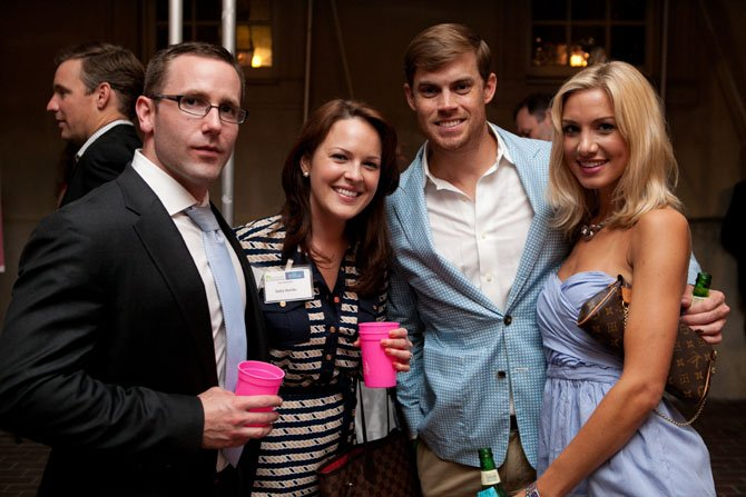 Holly and Matt Beville, John Thorsen and Kelly Ann Smolinski at the June 7 Bubbles and Bluegrass fundraiser at the Carlyle House.